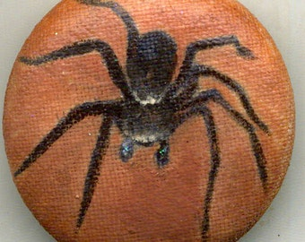 ooak Hand Painted Fabric Button HECKLEMESH SPIDER
