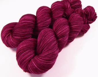 Hand Dyed Yarn - Sport Weight Superwash Merino Wool Yarn - Plumberry Semi-Solid - Knitting Yarn, Sock Yarn, Sport Yarn, Tonal Red Violet