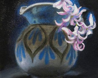 Hyacinths in a Creamer - original daily painting by Kellie Marian Hill