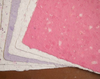 Handmade Recycled Paper - Glitter Papers Pink and Purple