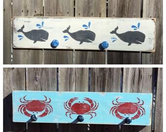 Crab or Whale Nautical Nursery Coat Rack Coastal and Beach Decor