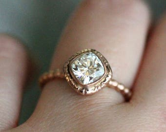 Cushion Cut Forever One Moissanite 14K Gold Engagement Ring, Stacking Ring, Antique Square Cushion Moissanite Ring - Made to Order