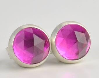 ruby lab corundum rose cut 6mm sterling silver stud earrings pair