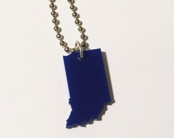 Dark Blue Indiana Necklace in Laser Cut Plastic - State Necklace - State Shape Jewelry
