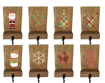 stocking holders mantle stockings reclaimed wood set of 6 rustic christmas - Stocking Hangers For Mantle