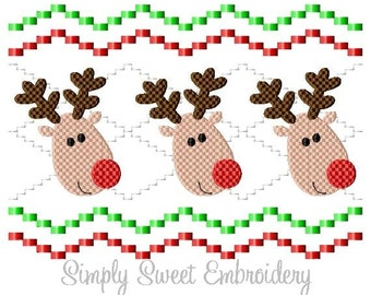 Faux Smocking Reindeer Machine Embroidery Design