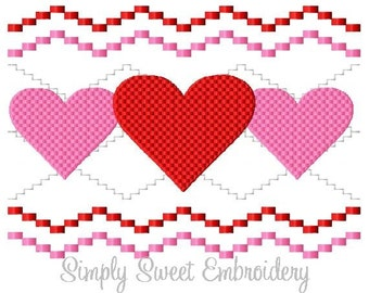 Faux Smocking Valentine's Day Hearts Machine Embroidery Design
