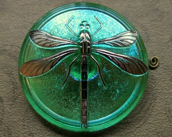 NEW LARGE DRAGONFLY .  Czech Art Glass Button, Hand painted Bohemian Glass (1 piece) 40 mm