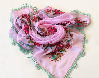 Boho Printed Scarf, Pink Green Floral Printed Cheesecloth Turban  Muslin Authentic Scarf Tatting Lace Trim OOAK Women Fashion Pale Dogwood
