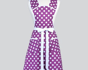 Womens Vintage Style Apron / Quarter Sized Polka Dots in White on Purple Full Coverage Plus Size Womans Kitchen Apron Perfect Gift for Her