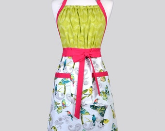 Cute Kitsch - Womens Retro Apron in Turquoise and Ivory Birds Full Coverage Vintage Style Chef Woman Apron with Pockets Ideal Gift for Cooks