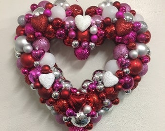 Red, Silver, Pink, White Valentine's Day Heart Ornament Wreath