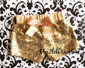 Baby Girls GOLD Sparkle Sequin SHORTS-girls birthday outfit-girls sequin shorts-Infant toddler shorts- baby girl shorts- Ready to Ship