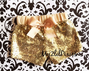Baby Girls GOLD Sparkle Sequin SHORTS-girls birthday outfit-girls sequin shorts-Infant toddler shorts- baby girl shorts