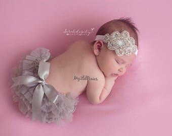 BABY BLOOMER and HEADBAND,  ruffle bloomer, baby bloomer, diaper cover, baby set, baby headband, infant, newborn, photo prop, ready to ship