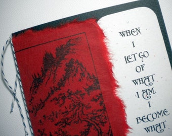 BECOMING YOU ~ Mixed media collage greeting card with bookmark, quote by Lao Tzu