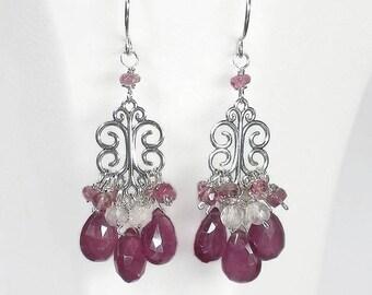 Pink Chandelier Earrings, Pink Drop Earrings, Pink Sapphire Earrings, Pink Gemstone Earrings