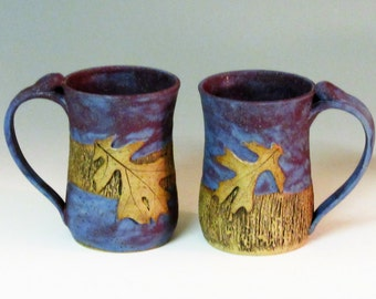 Set of 2 Purple Mugs with Oak leaves and texture/Small Mugs 12 oz mugs