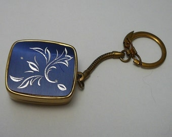 Vintage Musical Keychain Music Box Sankyo Blue Engraved Flowers