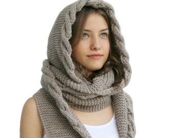 Hand Knit Milky Brown Wool Hooded Scarf / Cabled Long Hoodie Scarves / Cowl / Knit Scarves, Trend Knit Accessories