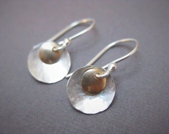 Small Silver and Gold Earrings, Textured Sterling Silver and Gold filled Discs with Sterling Silver earring hooks, simple, dressy and casual