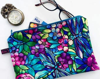 Colourful Clutch Spring Flowers Dragonfly Make Up Bag Cosmetics Purse