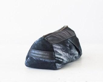 Toiletry case in shibori cotton and black leather, makeup bag accessory bag makeup case cosmetic bag beauty - Estia bag