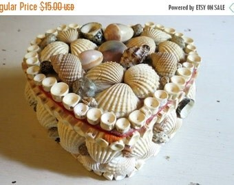 SALE Vintage Heart Shaped Seashell Trinket Box