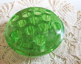 Vintage Green Glass Flower Frog