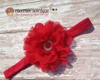 30% OFF SPRING SALE Christmas Red Flower Headband, Lg Petal, Newborn Headband, Baby Headband, Infant Headband, Baby Shower Gift, Flower Girl