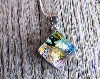 outer space jewelry, pendant necklace, fused glass pendant, glass pendant nebula, colourful jewelry, nebula necklace, space pendant galaxy
