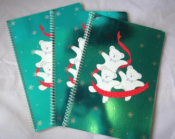 Lot of 3 Vintage 1987 Sanrio Teddy Bear Christmas Notebooks - Japan