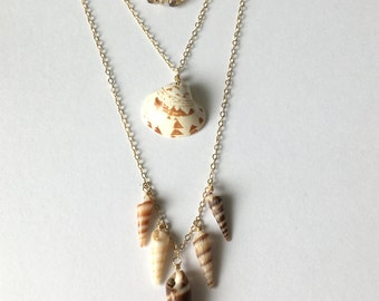Seashell Layered Necklace, Auger Shell, Hawaii Sea Shells, Hawaiian Jewelry, Hawaii Beach, Simply Sparkle Designs (Style 5021, 5022, 5023)