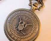 Black Friday Cyber Monday Vintage US Navy Pocket Watch & Chain Necklace Costume Jewelry Jewellery