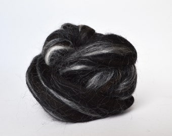 Black Brown Wool Roving Mill Ends - Sold by the Ounce