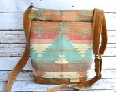 Our Emma Diaper bag  Wool Tote,  NAPPY SACKS Made in the USA! by Darby Mack Waxed Canvas Waterproof turquoise, coral