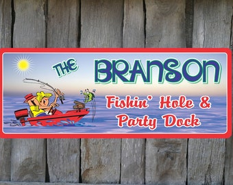 Fishin' Hole Personalized Dock Sign with Green Fish & Cartoon Couple in Red Motor Boat, Nautical Sign, Boat Decor, Boating C1140