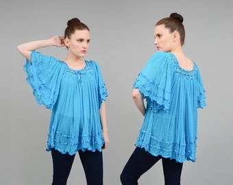70s Blue Cotton Gauze Top Angel Sleeve Shirt Sheer Crochet Boho Hippie India Blouse Festival Tunic Top Womens Small Medium S M