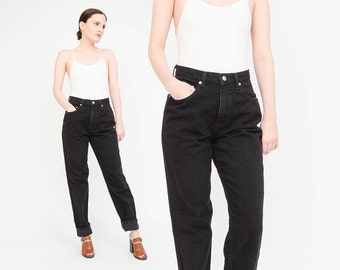 Vintage 90s GAP Jeans - Tapered Leg Black Jeans - 1990s Relaxed Fit Mom Jeans Small S 28 waist
