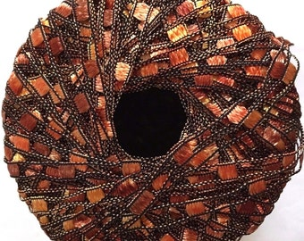 "Di.Ve Scaletta Mini Ladder Ribbon Yarn #24268 - Sunset - Copper, Orange, Yellow - 25 Gram 65 Yards 3/16"" Width"