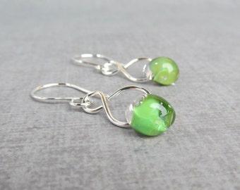 Silver Dangles Green Earrings, Lampwork Earrings Green, Handmade Silver Wire Earrings, Infinity Earrings, Sterling Silver Earrings Dangle