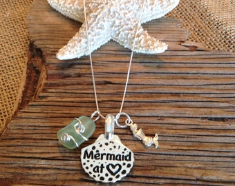Mermaid Seaglass Charm Necklace