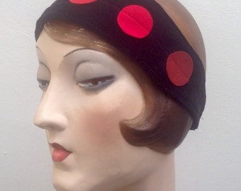Black velveteen headband with multi red ultrasuede circles. Free shipping in the US. Boho. Bohemian