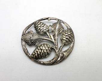Pinecone Brooch Pin Vintage Sterling Silver Felch & Co Circa 1934