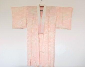 Japanese Nagajuban Kimono Underrobe Pink Cream With Ornamental Floral Pattern 四