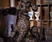 1950's Ceramic Poodle Figurine,Brown Poodle Figurine,Ceramic Brown Poodle Statue,Vintage Poodle Figurine,Vintage Poodle Statue,Poodle