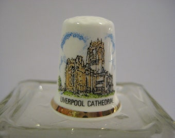 Liverpool Cathedral Thimble, Vintage Thimble of Liverpool Cathedral, Vintage Sewing Thimble,  Souvenir Thimble of Liverpool Cathedral