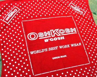 Osh Kosh Vintage Polka Dot Red Hankie Handkerchief Bandana