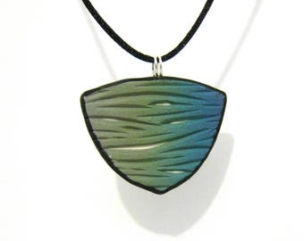 Green Teal Gradient Carved Shield Pendant with White Underlay - Curved Triangle Shape - Black Satin Cord Necklace - Polymer Clay