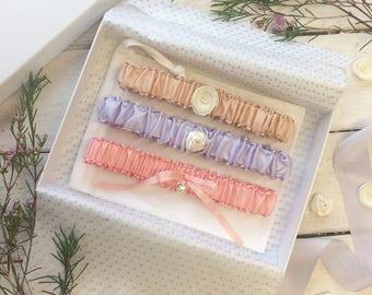 Clara - Silk Garter, Pink Garter, Personalised Garter, Violet Garter, Champagne Garter, Luxury Garter, Pastel Garter,